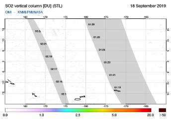 OMI - SO2 vertical column of 18 September 2019