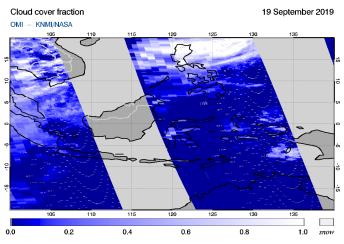 OMI - Cloud cover fraction of 19 September 2019
