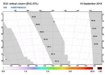 OMI - SO2 vertical column of 19 September 2019