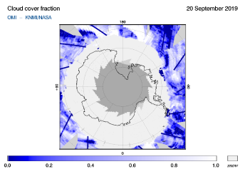 OMI - Cloud cover fraction of 20 September 2019
