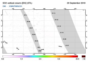OMI - SO2 vertical column of 20 September 2019