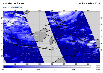 OMI - Cloud cover fraction of 21 September 2019
