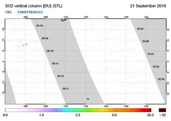 OMI - SO2 vertical column of 21 September 2019