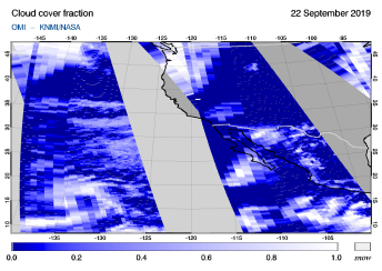 OMI - Cloud cover fraction of 22 September 2019