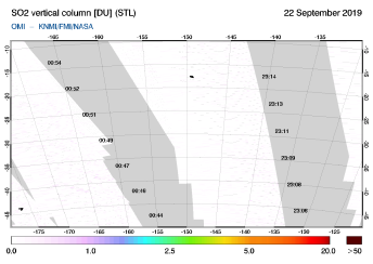 OMI - SO2 vertical column of 22 September 2019