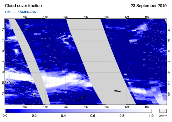 OMI - Cloud cover fraction of 23 September 2019