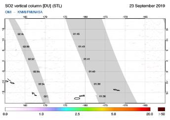 OMI - SO2 vertical column of 23 September 2019