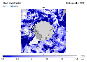 OMI - Cloud cover fraction of 25 September 2019