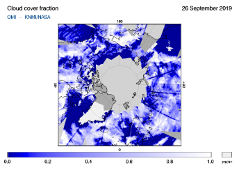 OMI - Cloud cover fraction of 26 September 2019