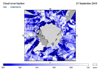 OMI - Cloud cover fraction of 27 September 2019