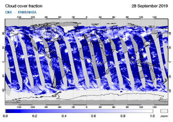 OMI - Cloud cover fraction of 28 September 2019