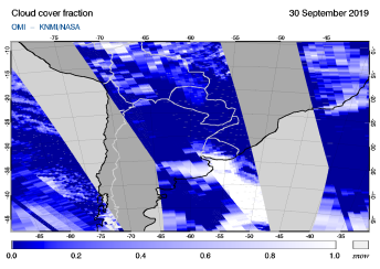 OMI - Cloud cover fraction of 30 September 2019