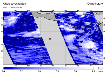OMI - Cloud cover fraction of 01 October 2019