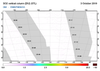 OMI - SO2 vertical column of 03 October 2019