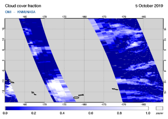 OMI - Cloud cover fraction of 05 October 2019
