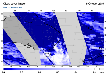 OMI - Cloud cover fraction of 06 October 2019
