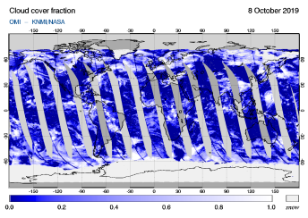 OMI - Cloud cover fraction of 08 October 2019