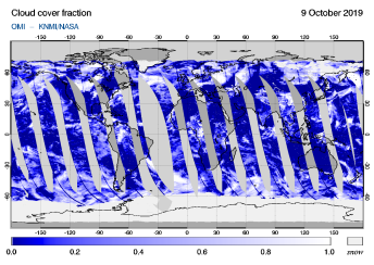 OMI - Cloud cover fraction of 09 October 2019