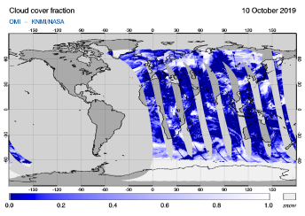 OMI - Cloud cover fraction of 10 October 2019