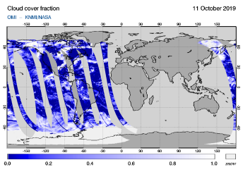 OMI - Cloud cover fraction of 11 October 2019