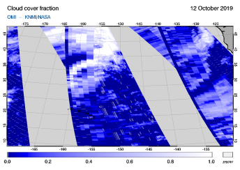OMI - Cloud cover fraction of 12 October 2019