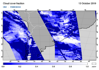 OMI - Cloud cover fraction of 13 October 2019