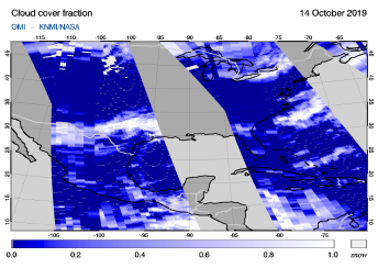 OMI - Cloud cover fraction of 14 October 2019