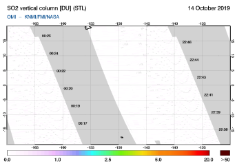 OMI - SO2 vertical column of 14 October 2019