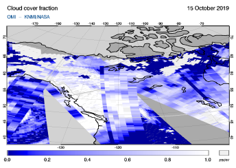 OMI - Cloud cover fraction of 15 October 2019