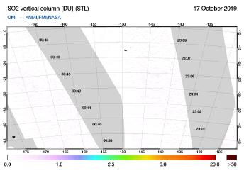 OMI - SO2 vertical column of 17 October 2019
