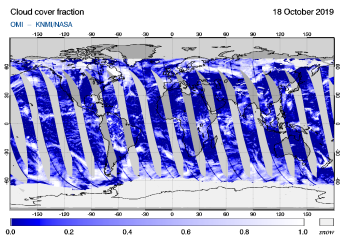 OMI - Cloud cover fraction of 18 October 2019