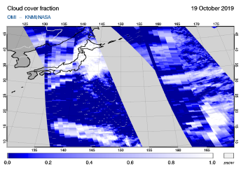 OMI - Cloud cover fraction of 19 October 2019