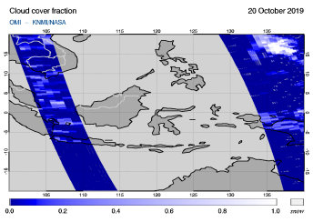 OMI - Cloud cover fraction of 20 October 2019