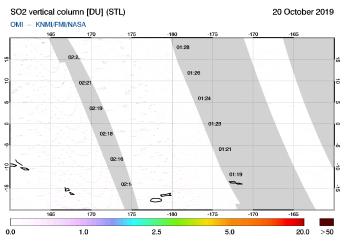 OMI - SO2 vertical column of 20 October 2019