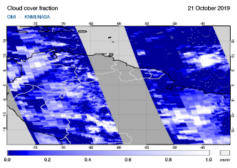 OMI - Cloud cover fraction of 21 October 2019