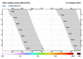 OMI - SO2 vertical column of 21 October 2019