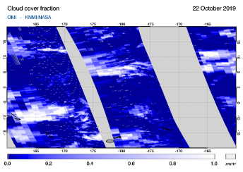 OMI - Cloud cover fraction of 22 October 2019