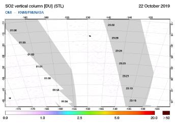 OMI - SO2 vertical column of 22 October 2019