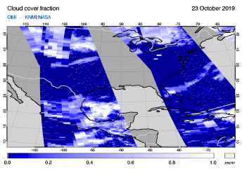 OMI - Cloud cover fraction of 23 October 2019