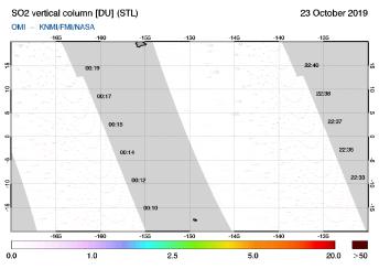 OMI - SO2 vertical column of 23 October 2019
