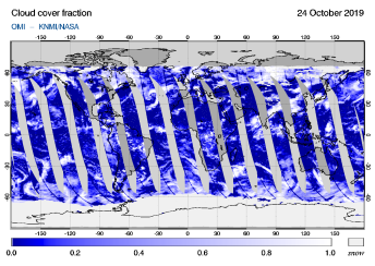 OMI - Cloud cover fraction of 24 October 2019