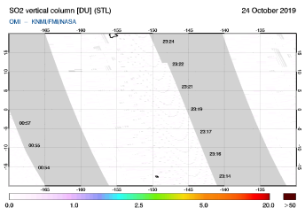 OMI - SO2 vertical column of 24 October 2019
