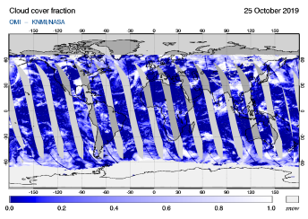 OMI - Cloud cover fraction of 25 October 2019