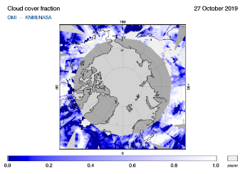 OMI - Cloud cover fraction of 27 October 2019