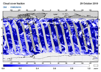 OMI - Cloud cover fraction of 29 October 2019