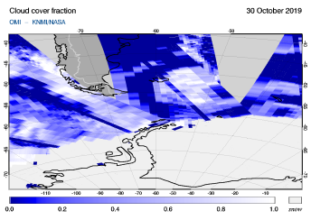 OMI - Cloud cover fraction of 30 October 2019