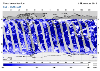 OMI - Cloud cover fraction of 05 November 2019