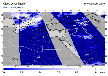 OMI - Cloud cover fraction of 06 November 2019