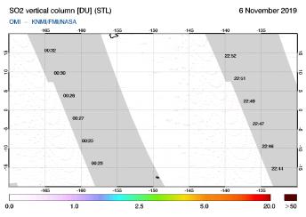 OMI - SO2 vertical column of 06 November 2019