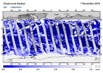 OMI - Cloud cover fraction of 07 November 2019